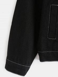 Y De Con Capucha Mezclilla Negro Chaqueta Contrastante Desmontable pzqfx6