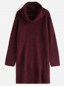 الطربوش عنق طويل الأكمام سترة اللباس - نبيذ احمر