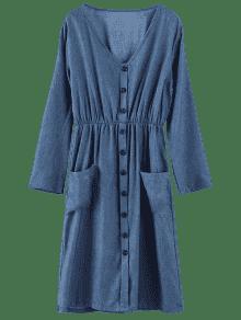 S Largo Manga Azul Vestido Larga De Midi ZAFUL x0qzaw