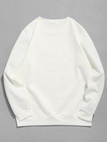 Casual Xs Letra Geom 233;trica Sudadera Blanco TXazE