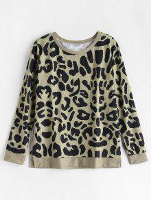 Sweatshirt Pullover Xl Leopard Slit Multi 7Eqw6BBxa5