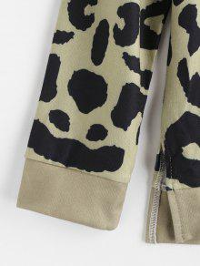 Sweatshirt Multi Leopard Slit Xl Pullover fnwEqAqB