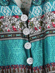 Parte Pierna Estampado Con Boho De Delantera Botones En La Multicolor A M Vestido Media De E7qntwzIax