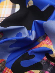 Print Camo Multicolor S Cubiertos Botones Con Plaid Camisa q6xdwgAd5