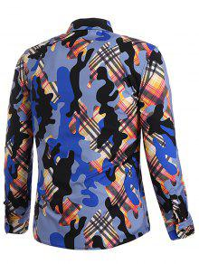Camo S Cubiertos Print Multicolor Camisa Con Plaid Botones UwdZHU0q