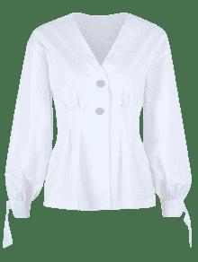 Con S Blanco Blusa Anudada Botones f0wHR