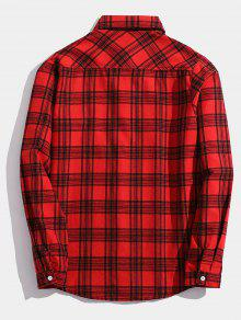 Con El De Xs Pecho Cuadros De En Parche Detalle Camisa Rojo qxw0ERgq