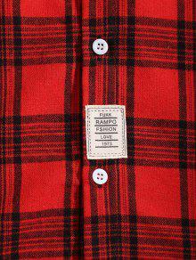 De El Con Parche Xs De Cuadros En Detalle Camisa Pecho Rojo fCIpq