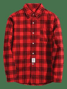 De Detalle Pecho Rojo Xs El En Camisa Parche Cuadros De Con qFWx4w