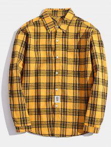 جيب الصدر التصحيح التفاصيل قميص منقوش - الأصفر Xs