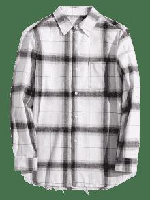 Xs El Bolsillo Camisa En Pecho Gris De Cuadros Con Casual xqwwvAaH4