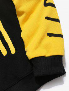 Graffiti M Sudadera Amarillo Letter Contraste Patchwork qZHwYxFP
