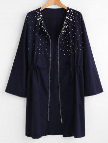 بالاضافة الى حجم معطف زيبر مطرز - منتصف الليل الأزرق 3x