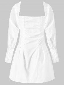 Cuadrado Blanco Botones Con Mini Vestido S qw5FnxHn1