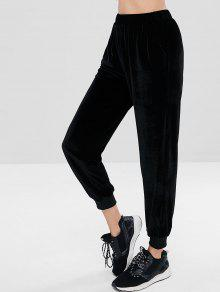 بنطال رياضي ZAFUL Velvet High Waisted Jogger - أسود S