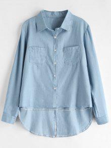 L Marino Baja Azul Chambray Alta Camisa xXPY7fX