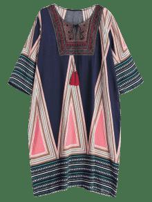 Con Estampado 2x Bordado Estampado Vestido Multicolor Extragrande gwPppq