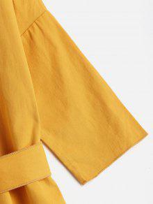 Amarillo Mini Brillante Con Recto Cintur Vestido 243;n 8nxzwBqaxU