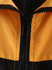 Jacket Oro S Zip Print Color Block Letter Anaranjado n8zXIq