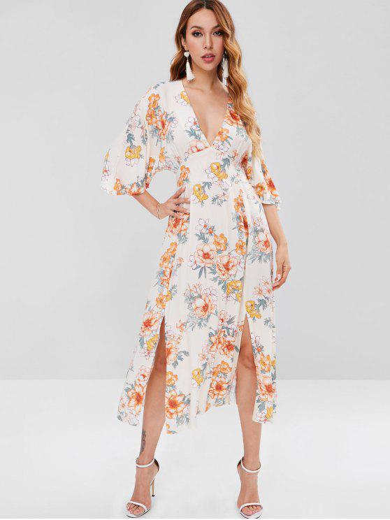 chic Floral Side Split Plunging Neck Dress - MULTI L
