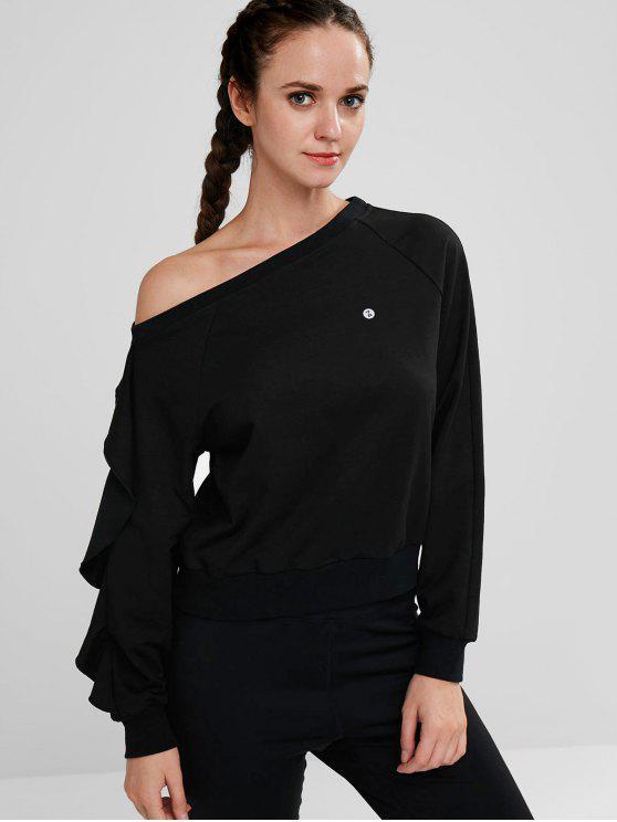 hot ZAFUL Ruffle Skew Neck Sweatshirt - BLACK S