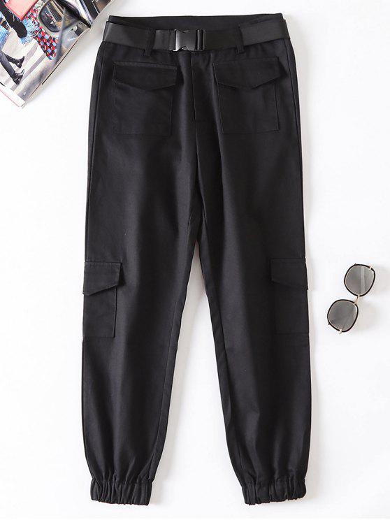 Pantaloni Da Jogging Con Cintura - Nero S