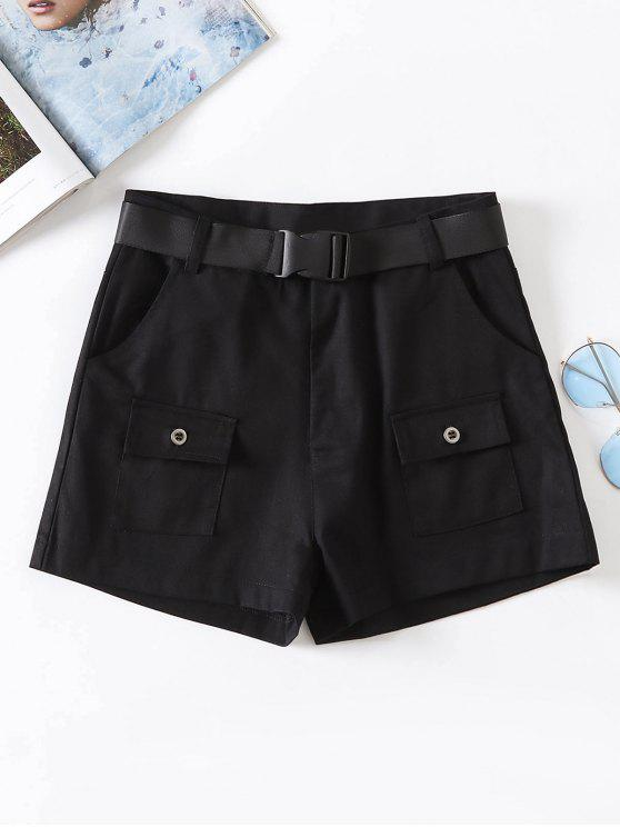 Zipper Fly Belted Shorts - Negro L