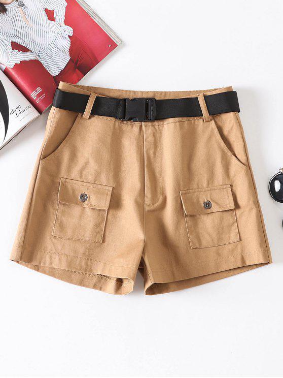 Shorts à ceinture avec fermeture éclair - Marron Camel L