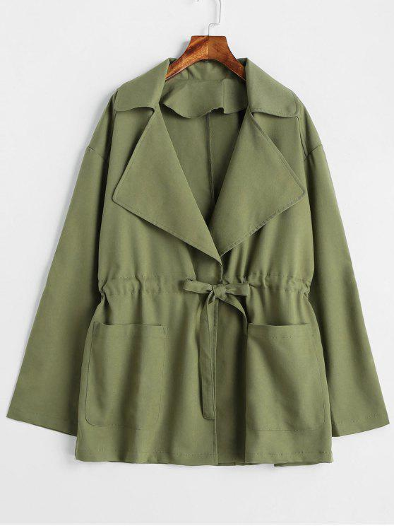 affordable Pockets Tie Trench Coat - ARMY GREEN M