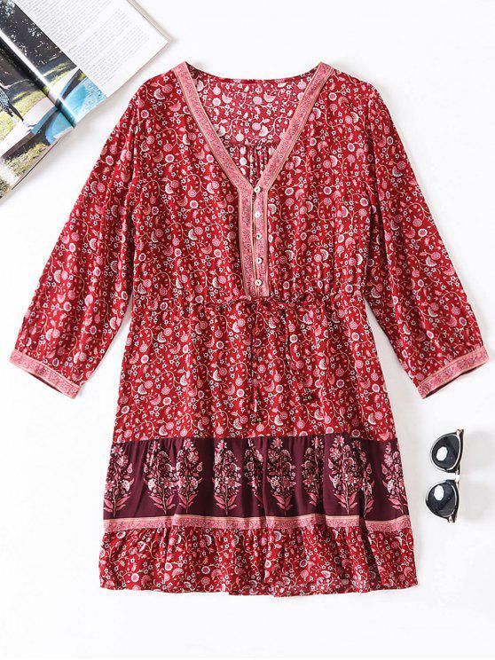 Petite robe à col en V à fleurs - Rouge L