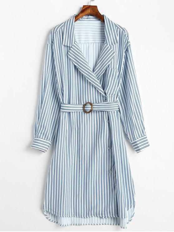 fashion Asymmetric Slit Striped Dress - MULTI L