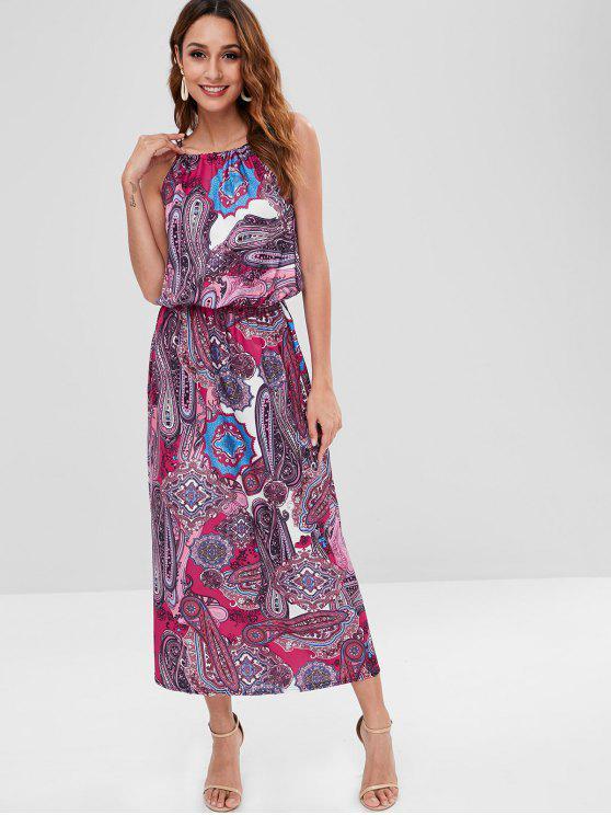 Maxi Vestito Con Stampa Paisley - Multi Colori M