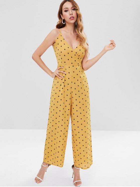 women's Stars Wide Leg Jumpsuit - GOLDEN BROWN L