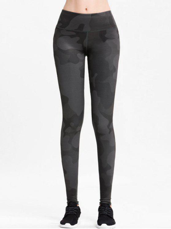 affordable High Rise Camo Sports Leggings - DARK GRAY M