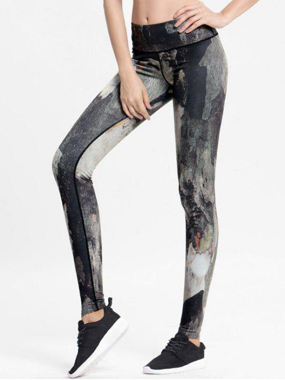 trendy High Rise Printed Sports Leggings - MULTI L
