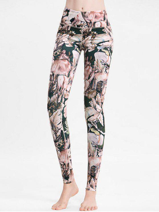 fashion Floral Deer High Waisted Sports Leggings - MULTI S