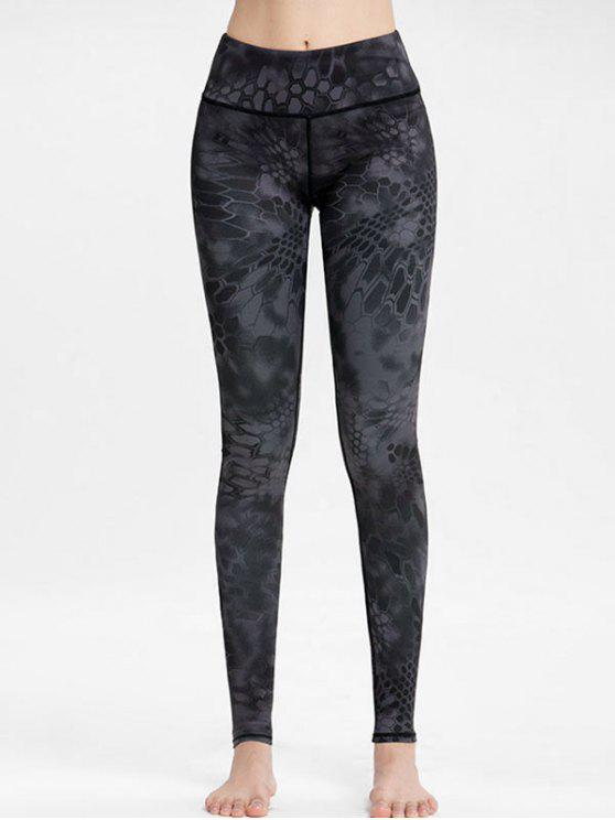 new High Waisted Printed Workout Leggings - GRAY L
