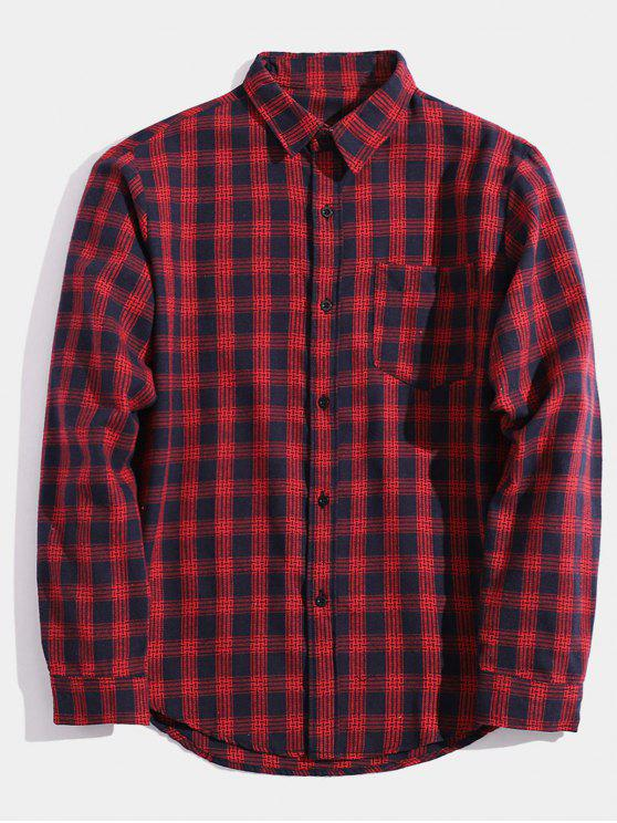 affordable Pocket Plaid Button Up Shirt - RED XS