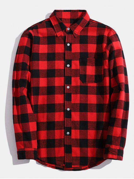Camicia A Quadri Stampata Lettere Indietro Con Tasca - Rosso S