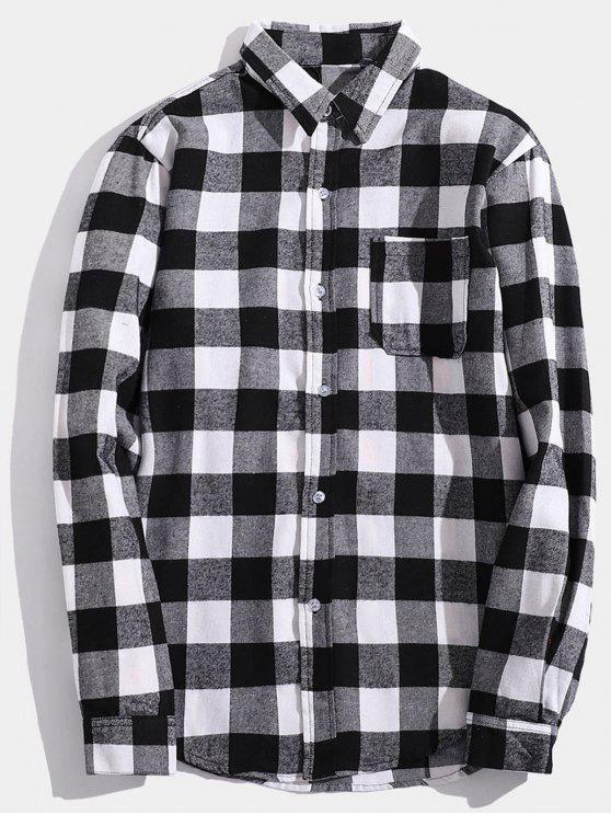 الصدر جيب العودة رسالة منقوشة القميص - اللون الرمادي M