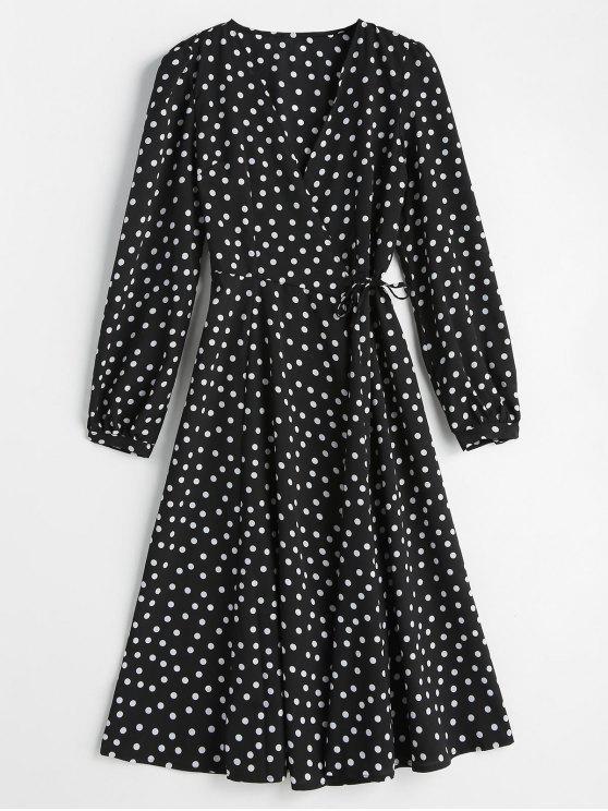 shop Wrap Polka Dot Dress - BLACK S