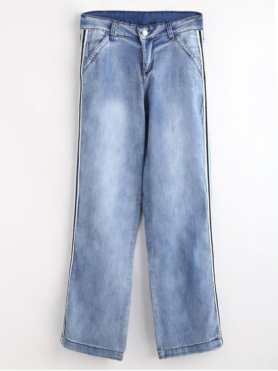 جينز مقلم - ازرق L
