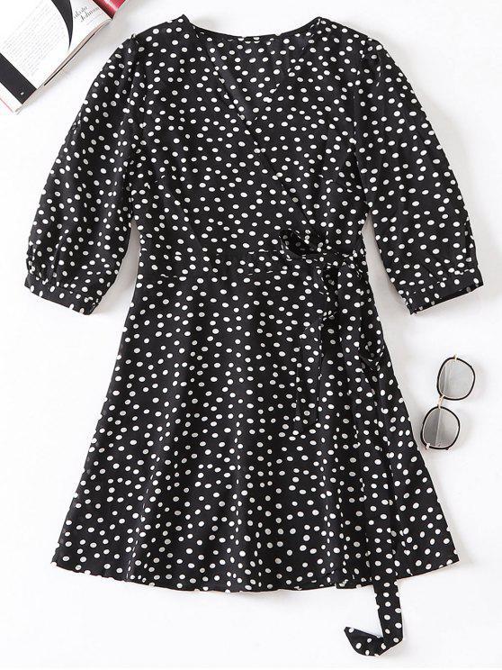 ladies Polka Dot Wrap Tie Up Dress - BLACK S