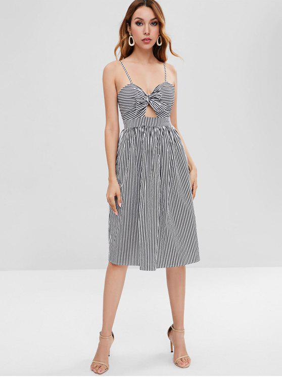 trendy Striped Cami Knotted Dress - MULTI M