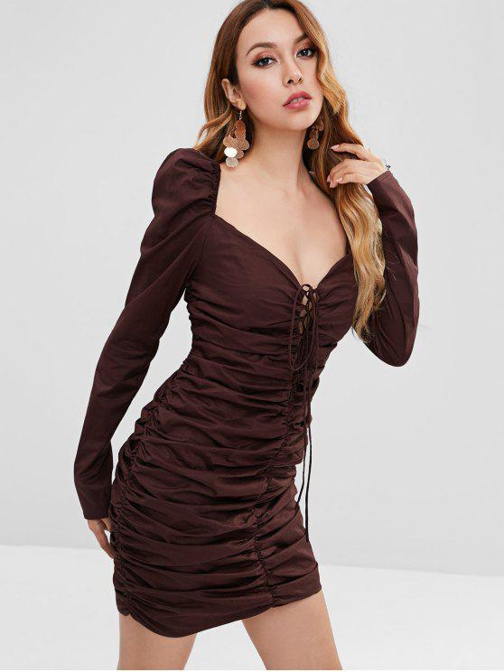 880d680bb7b1 57% OFF  2019 Lace Up Ruched Bodycon Dress In DEEP COFFEE