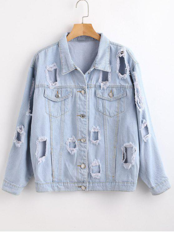 women's Button Up Ripped Jean Jacket - JEANS BLUE L