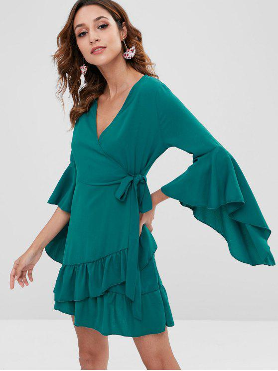 fashion Flare Sleeves Knotted Mini Dress - GREENISH BLUE L