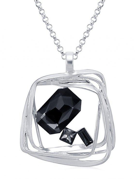 hot Geometric Rhinestone Chain Necklace - SILVER