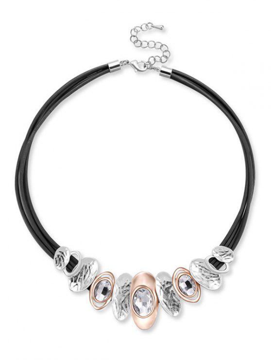 Geometrische geformte Strass Halskette - Schwarz