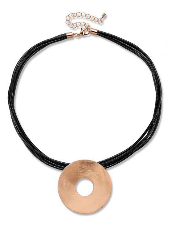 Chunky Kreis Anhänger Seil Halskette - Schwarz